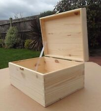 PINE WOOD-WOODEN BOX WITH LID & CLAPS FOR ART CRAFTS  SIZE 28 cm x 22 cm x 14 cm