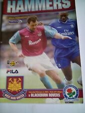 westham united v blackburn rovers premiership 2/2/2002