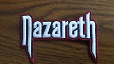 NAZARETH,IRON ON WHITE WITH RED EDGE EMBROIDERED PATCH