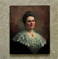 19th c. Portrait Oil Painting Lady Woman Dorothea Dreier Antique Victorian