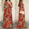 UK 14-24 Womens Floral Vintage Ladies Casual Loose Party Long Maxi Dress Kaftan