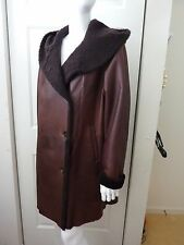 HIDE SOCIETY Brown Sheepskin Hooded Shearling Coat Size:10 NWT