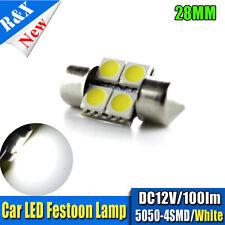 4x 3 SMD LED 28mm 5050 LED WHITE CAR NUMBER PLATE LIGHT FESTOON BULB DC12V 6000K
