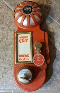 Best Model B fire alarm bell emergency exit BREAK GLASS door lock Vintage W/KEY
