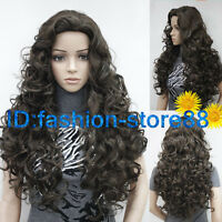 Ladies Fashion wig Charm Women's Long Dark Brown Curly Natural Hair wigs