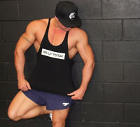 GYM SINGLET BODYBUILDING STRINGER MENS TOP WORKOUT FITNESS - SELF MADE LIFT WEAR