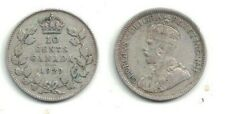🍁 1929 Canada 10-cent King George V Silver Coin in Fine+ - Very Fine Condition