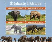 Chad Wild Animals Stamps 2020 CTO African Elephants Mammals Fauna 4v M/S