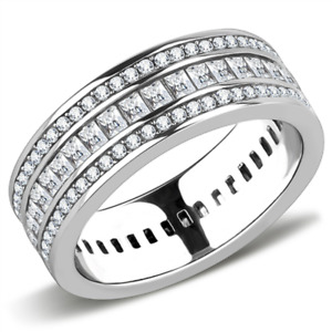 Ladies full eternity ring band wedding princess stainless steel cz silver 3435
