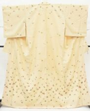 @.Japanese Vintage Kimono / silk / Women Tsumugi White 3nfuji25562