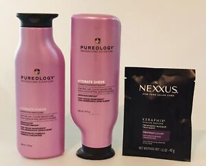 2 Pureology HYDRATE SHEER Shampoo + Conditioner 8.5 oz each +NEXXUS Mask 3 ITEMS