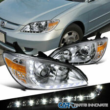 Fit Honda 04-05 Civic 2/4Dr Replacement Clear R8 Style LED Projector Headlights