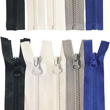 Chunky Zip Zipper Teeth Open End Plastic Numb 5 Heavy Duty Black White Grey Blue
