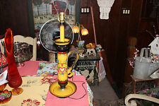 Vintage Toleware Table Lamp-Candlestick Shape-Country Decor Folk Art-Flowers