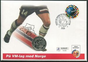 France 1 franc 1997 Football World Cup KM#1211 Silver BU /Prooflike Norway Cover