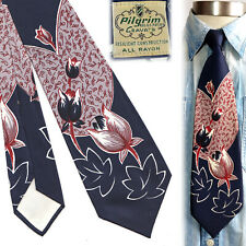 1950s Blue Pilgrim Floral Vintage Necktie Art Deco Swing Tie