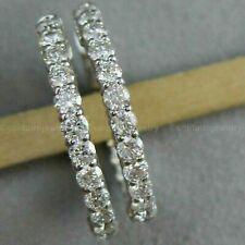 Diamond Inside Outside Hoop Earrings 14k White Gold Over 3.00 Ct Round Cut