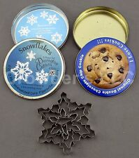 Set of 2 Vintage Tins: 5 Piece Snowflakes and Empty Original Double Choc Cookie