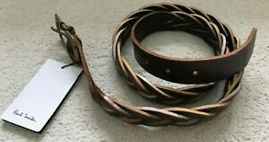 "Paul Smith Edge Paint Plait Brown belt  Brass buckle  34"" Waist"