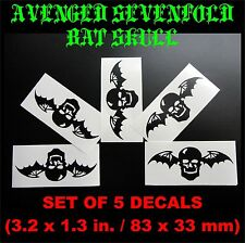 Avenged Sevenfold A7X winged skull set of 5 stickers (batskull, synyster gates)