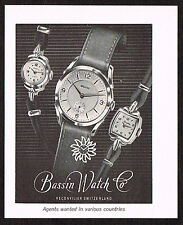 1950s Small Vintage 1955 Bassin Swiss Watch Paper Print Ad