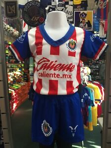 Guadalajara Home 2019-20 Blue Red White Classic soccer Set Kids Size 1T Only