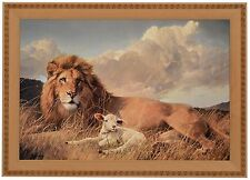 "Nancy Glazier PEACE AND HARMONY Framed Canvas 13.5"" x 20"" Image Lion Lamb"