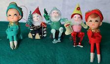 5 Vintage Christmas Felt Pixie Elves 2 Knee Huggers Ornaments Japan & More