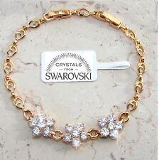 Bracciale Tennis Flor pl oro 24 k,cristalli bianco, Uomo Donna,braccialetto