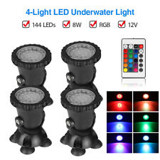 4Pcs 36x LEDs Spot Lights 144LED Waterproof with Remote For Fish Tank Pool Yard