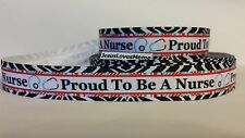 Grosgrain Ribbon, Proud To Be A Nurse, Stethoscope Zebra Border, Medical, 7/8""