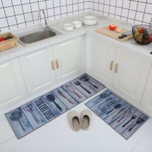 Blue Floor Mat & Runner 2 Pcs Set of Rubber, Standard With Anti Skid Backing