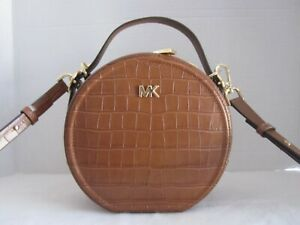 Michael Kors Chestnut Delaney MD Canteen Embossed Leather Crossbody Bag