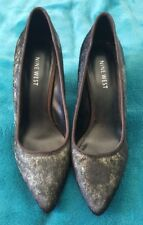 NINE WEST Black Leather Fur Hide High Heels Stilettos shoes Pointy toe Size 37