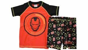 Boys Iron Man Avengers Swimming Suit Swim Shorts Trunks Rash Top Set 2 3 4 5 6 7