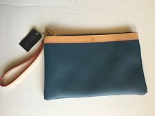 Garuglieri Dusk/Tan Leather Wristlet Clutch Cosmetic Bag (Hand Made in Italy)
