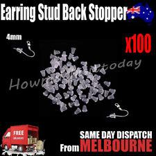 100x Rubber Earring Stud Dangler Back Stoppers Ear Post Nuts Findings 4mm
