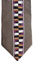"""Palatina Men's Silk Tie 58"""" X 4"""" Multi-Color Geometric"""