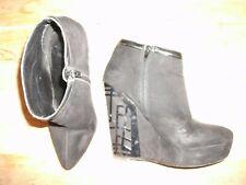 River Island Platform Faux Suede Black Boots decorative metal on 4 inch + heel S