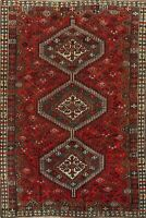 Antique Tribal Geometric Abadeh Wool Area Rug Hand-Knotted Oriental Carpet 6x10