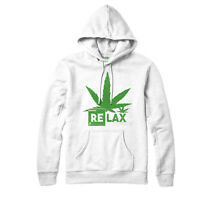 Relax Hemp Leaf Hoodie, Relax Cannabis Pot Weed Funny Spoof Lol Gift Top