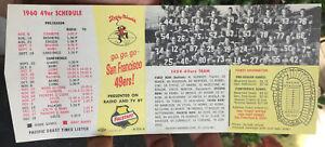 1960 San Francisco 49ers NFL FOOTBALL Pocket Schedule w/ 1959 Photo by Falstaff
