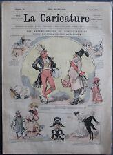 Albert ROBIDA Journal LA CARICATURE N°16 1880 Couv Couleur Robert-Macaire Ambigu