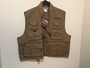 Pflueger Men's XXL Deluxe Tan Fly Fishing Vest Multi Pockets! NWT! (#CB7-20)