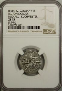 Germany Poland  Schilling 1414  NGC XF 45 Teutonic Order Michael I Kuchmeister