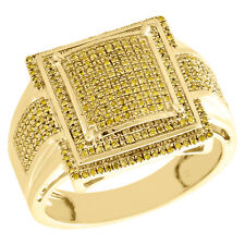 10K Yellow Gold yellow Diamond Step Square Men's Pinky Ring Fancy Band 0.48 CT