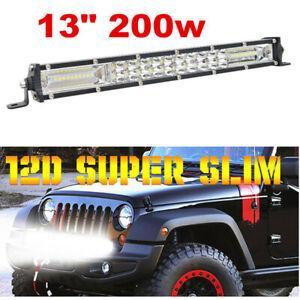 1X 13 inch 200w Slim LED Work Light Bar Spot Flood Combo Driving Light Offroad