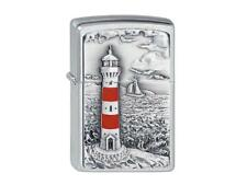 "ZIPPO ""LIGHTHOUSE"" EMBLEM BRUSHED CHROME LIGHTER / 2001670 ** NEW in BOX **"