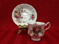 Paragon Flower Festival Multicolor Floral Fine Bone China Tea Cup and Saucer
