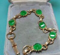 "Vintage Scarab Style Oval Jade Green Lucite Gold tone 6.5"" Bracelet  7N 27"